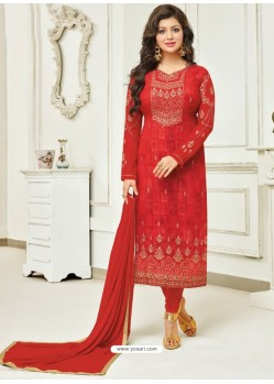 Red Faux Georgette Stone Embroidered Designer Churidar Suit