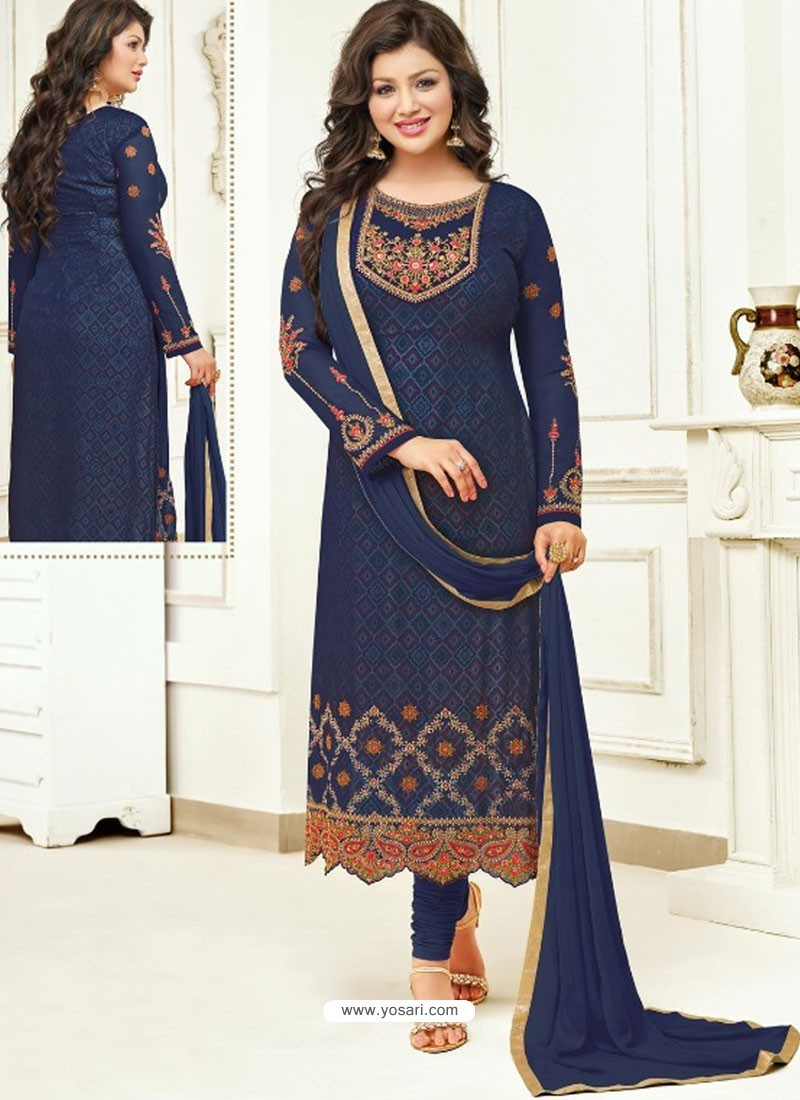 Navy Blue Faux Georgette Stone Embroidered Designer Churidar Suit