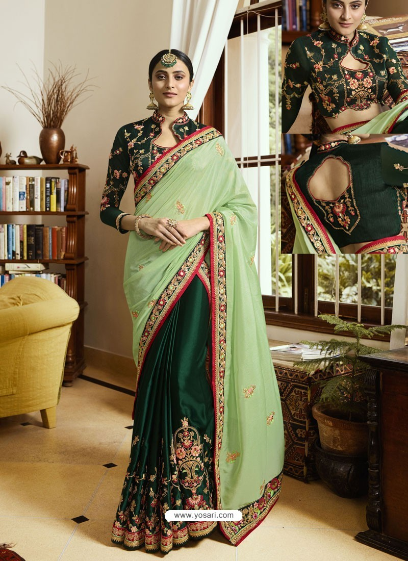 Green Embroidered Crepe And Silk Designer Party Wear Saree