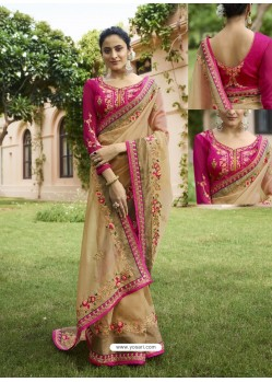 Beige Embroidered Nylone Tissue Designer Party Wear Saree