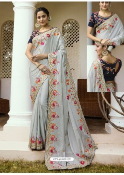 Light Grey Embroidered Silk Designer Party Wear Saree