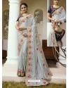 Light Grey Embroidered Silk Designer Party Wear Saree