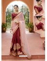 Pink And Maroon Embroidered Silk And Nylone Tissue Designer Party Wear Saree