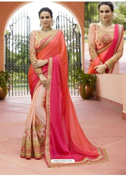 Orange And Peach Embroidered Silk Designer Party Wear Saree