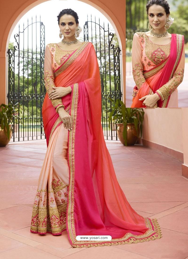 Orange And Peach Embroidered Silk Designer Party Wear Saree