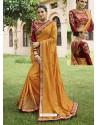 Mustard Embroidered Cotton Silk Designer Party Wear Saree