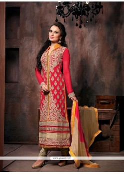 Lovely Red Georgette Churidar Salwar Kameez