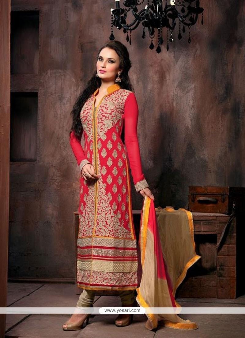 Lovely Red Georgette Churidar Salwar Kameez