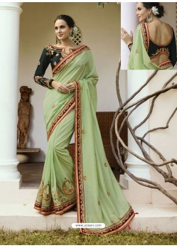 Sea Green Embroidered Silk Designer Party Wear Saree