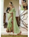 Sea Green Embroidered Silk Designer Party Wear Saree