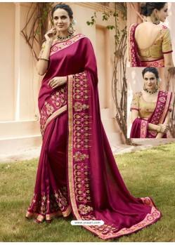 Medium Violet Embroidered Silk Designer Party Wear Saree