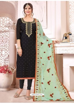 Black Heavy Modal Silk Designer Gota Worked Churidar Suit