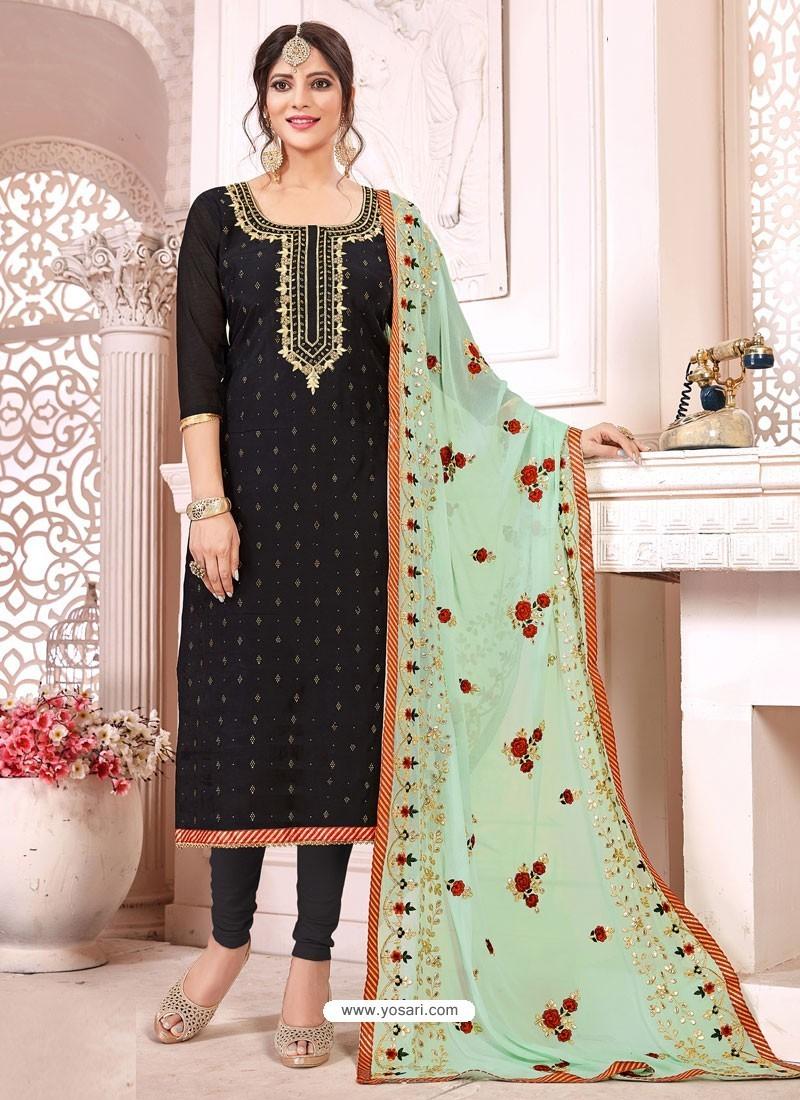 Black Heavy Modal Silk Designer Gota Worked Churidar Suit