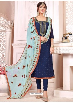 Navy Blue Heavy Modal Silk Designer Gota Worked Churidar Suit