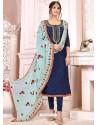 Navy Blue Heavy Modal Silk Designer Gota Worked Churidar Suit