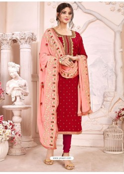 Red Heavy Modal Silk Designer Gota Worked Churidar Suit