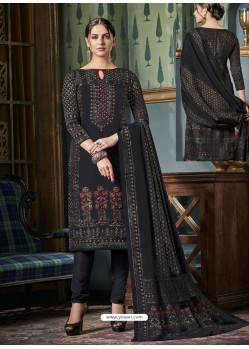Amazing Black Tussar Silk Printed Designer Straight Suit