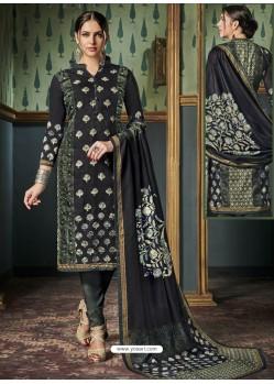 Impressive Black Tussar Silk Printed Designer Straight Suit