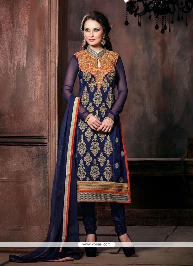 Glorious Blue Georgette Churidar Salwar Suit