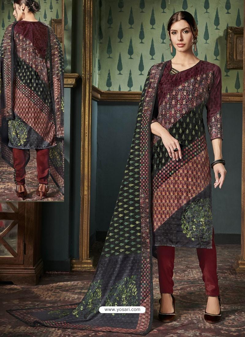 Pretty Maroon Tussar Silk Printed Designer Straight Suit