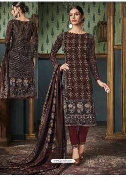 Deep Scarlet Tussar Silk Printed Designer Straight Suit