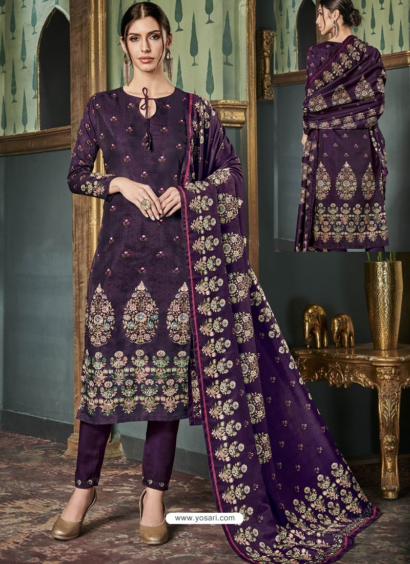 Glorious Purple Tussar Silk Printed Designer Straight Suit