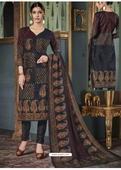 Multi Colour Tussar Silk Printed Designer Straight Suit