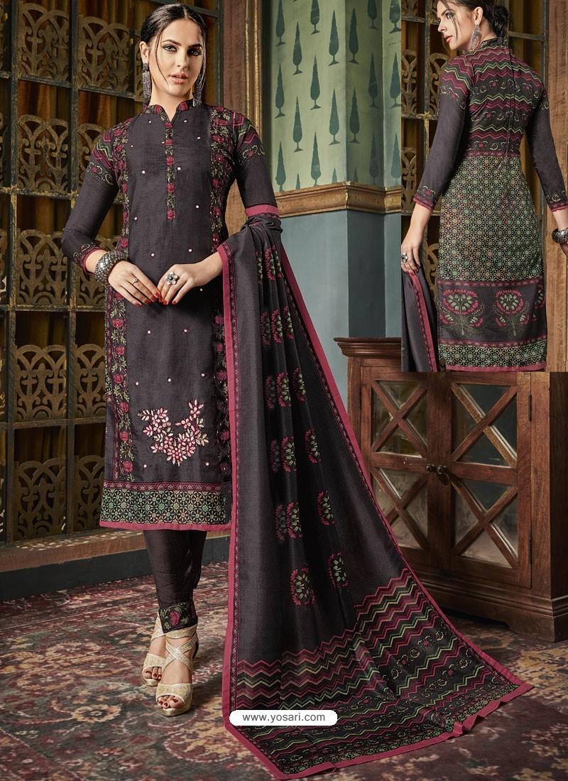 Stunning Coffee Tussar Silk Printed Designer Straight Suit