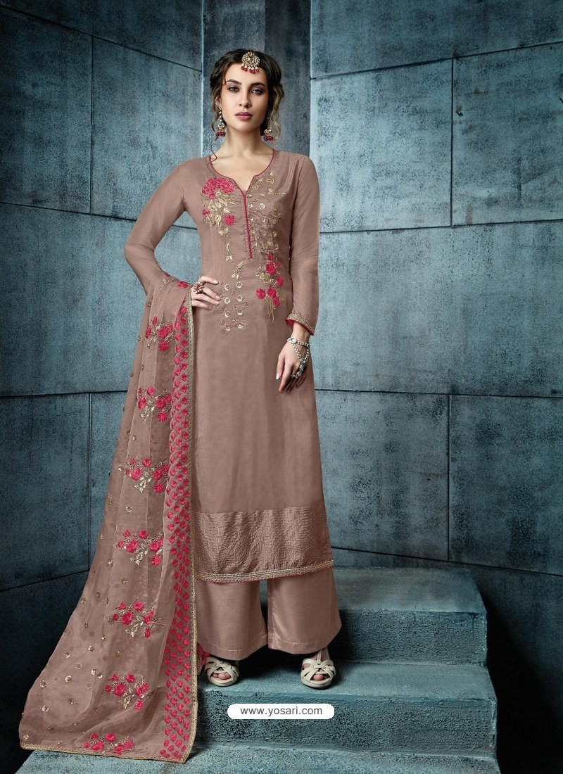 Light Brown Silk Embroidered Designer Palazzo Suit