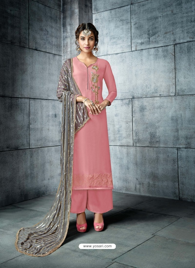 f0695acf61 Buy Pink Silk Embroidered Designer Palazzo Suit | Palazzo Salwar Suits