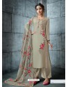 Olive Green Silk Embroidered Designer Palazzo Suit