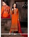 Dazzling Orange Georgette Churidar Salwar Kameez