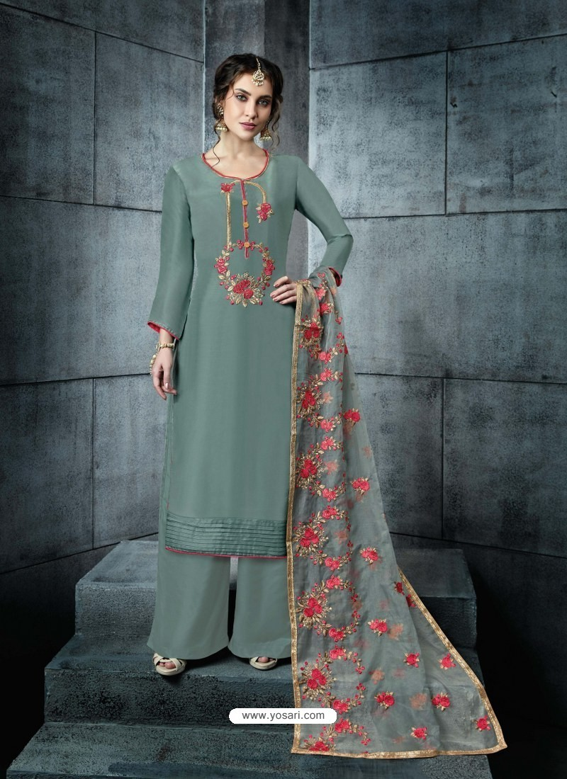Teal Silk Embroidered Designer Palazzo Suit