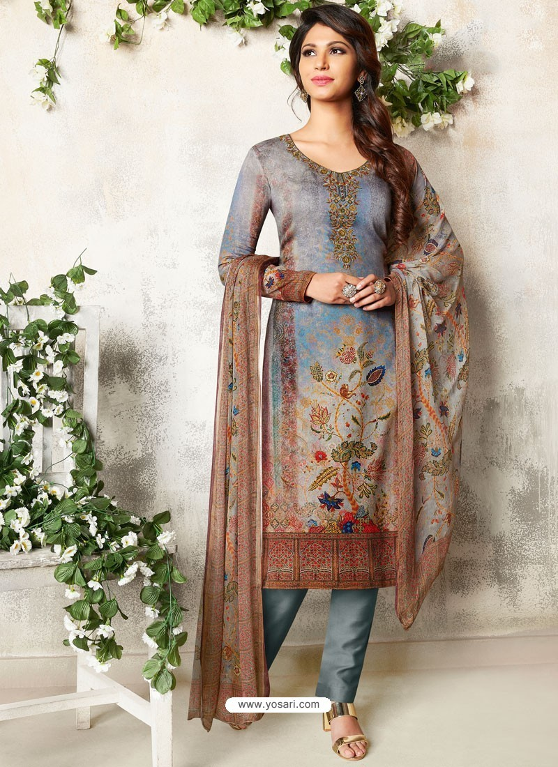 Grey Soft Cotton Embroidered Designer Straight Suit