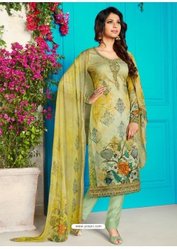 Marvelous Green Soft Cotton Embroidered Designer Straight Suit