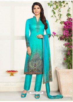 Firozi Soft Cotton Embroidered Designer Straight Suit