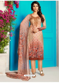 Light Orange Soft Cotton Embroidered Designer Straight Suit