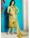 Eye Catching Green Soft Cotton Embroidered Designer Straight Suit