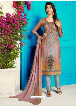 Multi Colour Soft Cotton Embroidered Designer Straight Suit