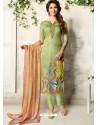 Green Soft Cotton Resham Embroidered Designer Straight Suit