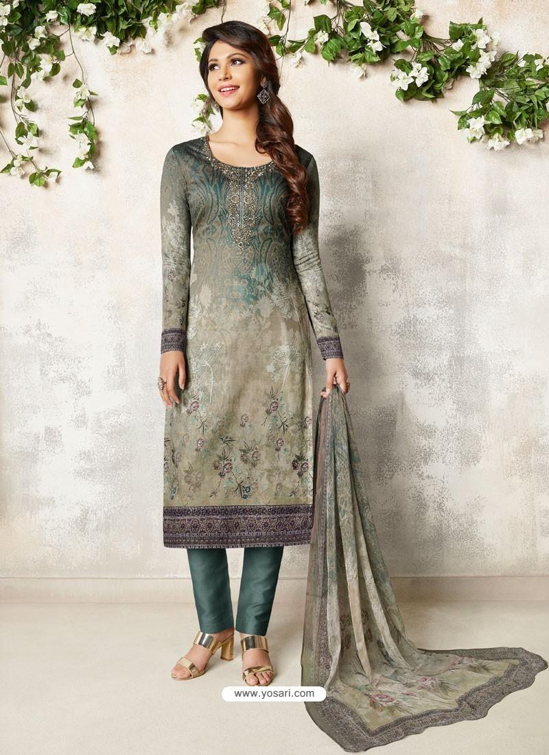 Light Grey Soft Cotton Embroidered Designer Straight Suit