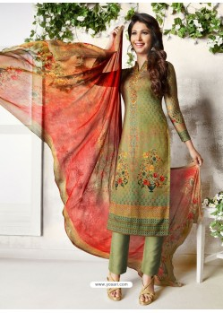 Mehendi Soft Cotton Embroidered Designer Straight Suit