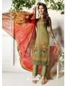 Mehendi Soft Cotton Embroidered Designer Straight Suit