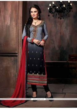 Black And Grey Shaded Embroidery Work Salwar Suit