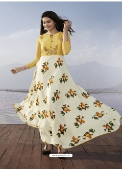 Gold And Off White Satin Georgette Printed Designer Long Kurti