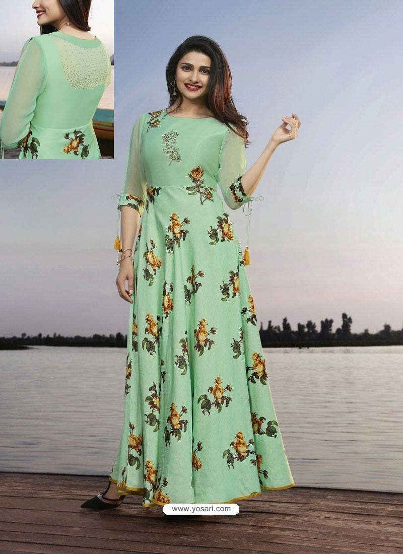 Sea Green Satin Georgette Printed Designer Long Kurti