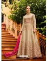 Light Beige Silk Embroidered Designer Anarkali Suit