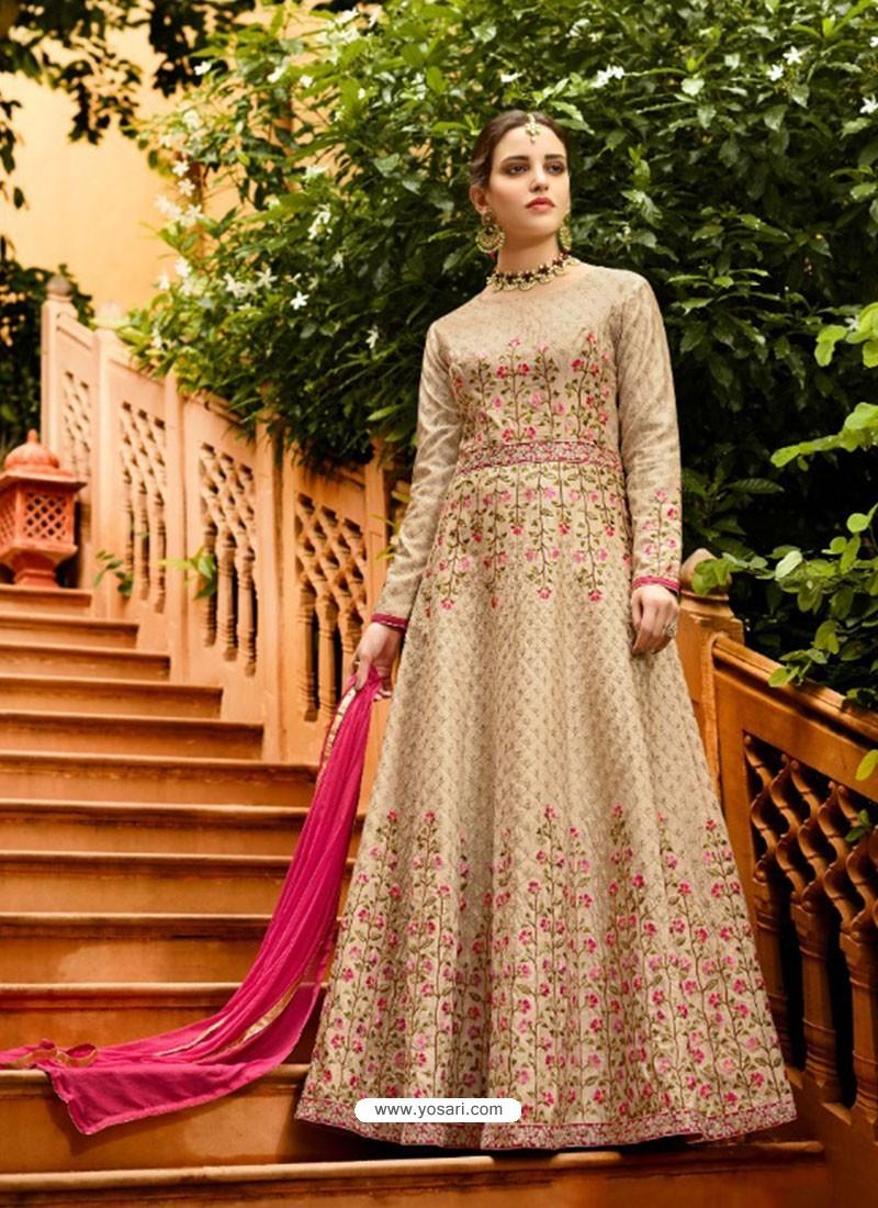 Light Beige Silk Embroidered Designer Anarkali Suit