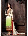 White And Green Shaded Georgette Churidar Suit