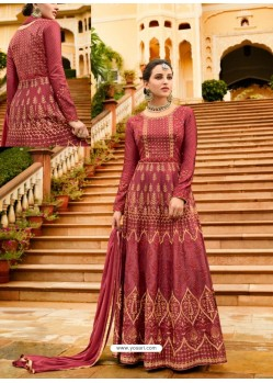 Maroon Silk Embroidered Designer Anarkali Suit